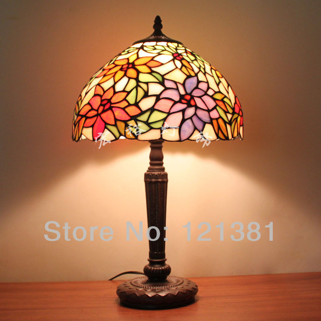 12 W Tiffany Style Floral Table Lamp Bedroom Lamp Stained Glass
