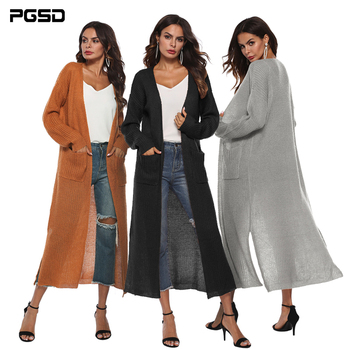 PGSD Autumn Winter Long Women Knitted Cardigan Loose Long sleeves Sweater Pockets Casual female Warm soft solid Outwear clothes black side pockets long sleeves outerwear