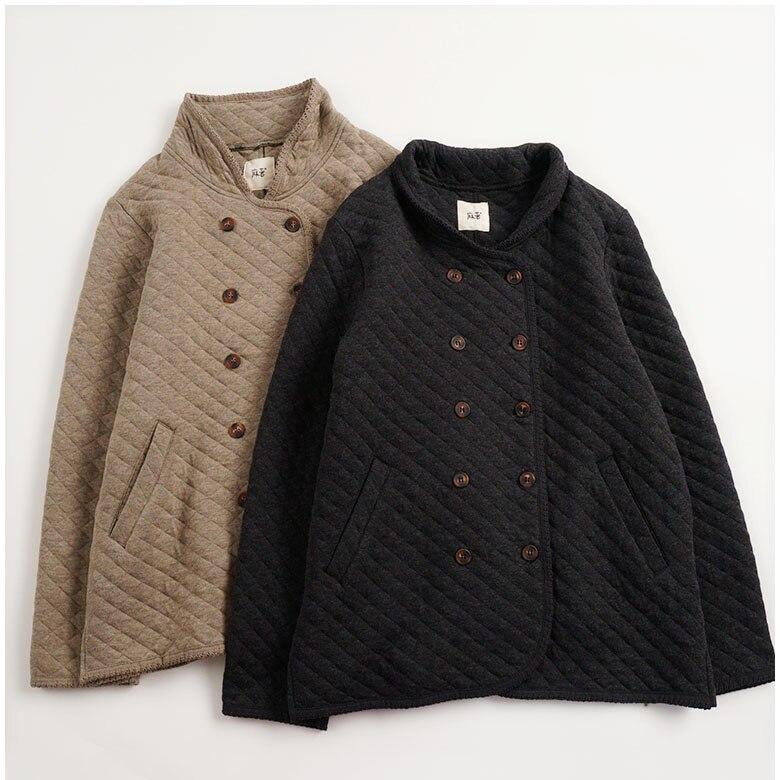 Autumn Winter Women Loose Plus Size Double Breasted Japanese Mori Girls Lanon Padded Coats Parkas