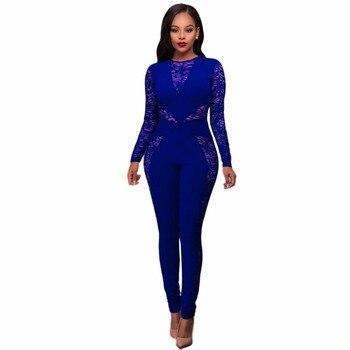 Women Jumpsuit Playsuit Lace stitch back high waist Jumpsuit Autumn Long Sleeve Hollow Out Overalls bodycon Romper Boysuits
