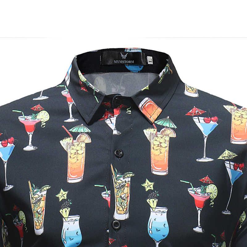 Модные чашки Фруктовый сок принтом пляж гавайская рубашка Для мужчин 2018 Фирменная Новинка Slim Fit Повседневное платье с длинным рукавом рубашки Chemise Homme 3XL