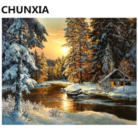 Snow River Pictures Painting By Numbers DIY Framed Oil Paint Pictures Wall Art Home Decor Unique