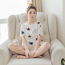 2017 Summer Bat Short Sleeves French terry Pajamas Women Suit Pijamas Mujer Home Cloth Leisure M-3XL Women's sprot Sets