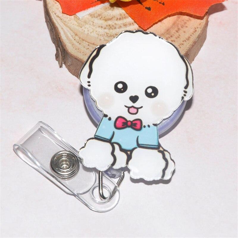 Hot Sales 1 Piece Top Quality Acrylic Holder Retractable Nurse Badge Reel Cartoon Dog Students Lanyards ID Name Card Badge