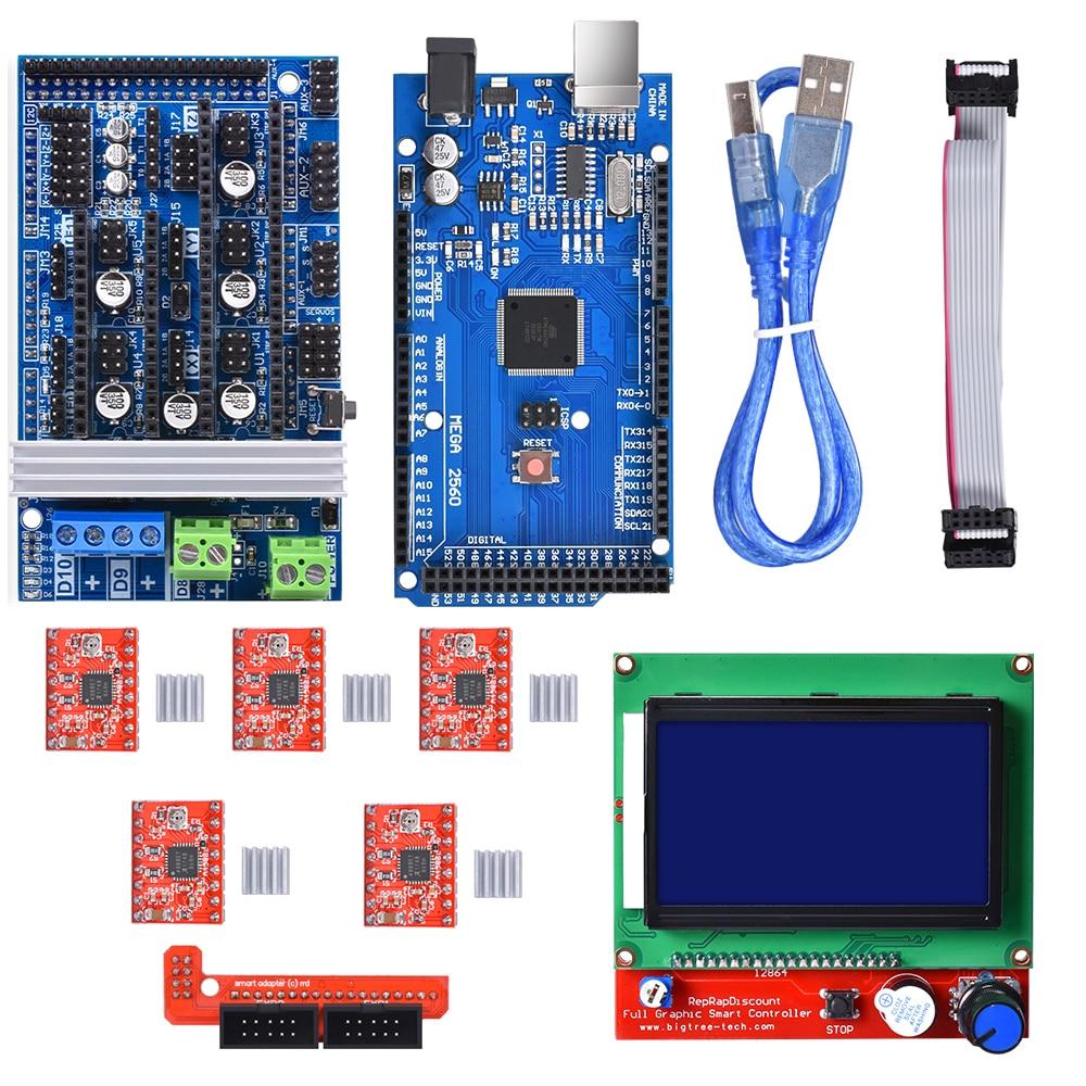 Ramps 1.6 Upgrade Ramps 1.4 Ramps 1.5 +A4988 DRV8825 Stepper Motor Driver+Mega 2560 R3 Reprap Mendel+12864 LCD For 3D Printer
