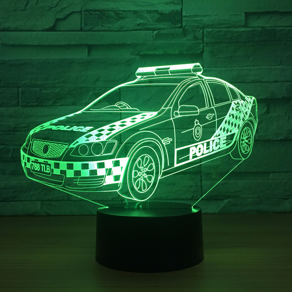 Visual Led Home Decor Gradients 3D Police Modelling Desk Lamp For Kid Touch Button Car Night Light Baby Sleep Usb Lighting Gifts 7 color change 3d led visual naruto modelling anime figure night light kids touch button usb table lamp home decor lighting gift