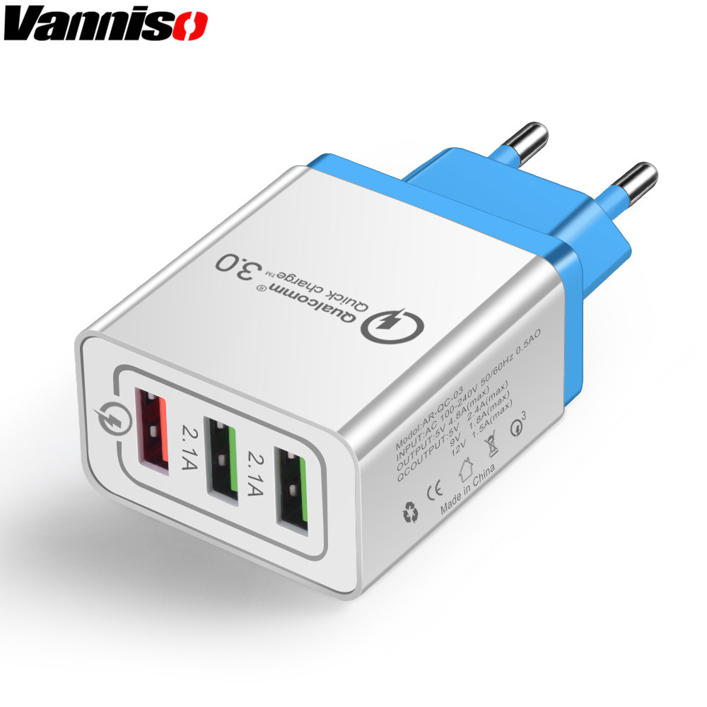 Vanniso USB Charger Fast charge 3 0 for iPhone X 8 7 Plus iPad Wall Charger for Samsung S10 Xiaomi mi9 Huawei P30 Phone Charger in Mobile Phone Chargers from Cellphones Telecommunications