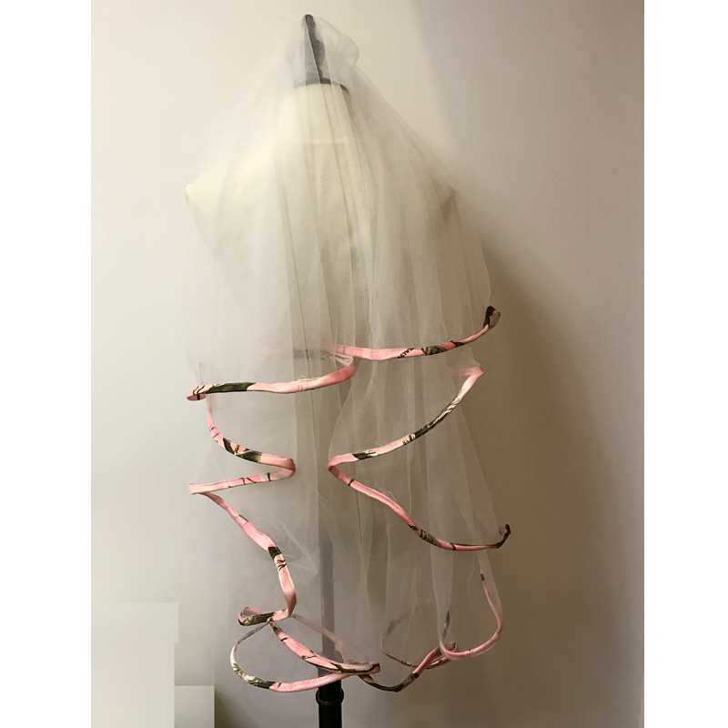 Pink CAMO Wedding Veils Ribbon Edge Two-Layer Short Bridal Veil Real Image