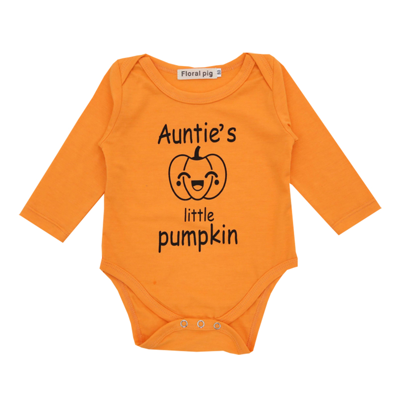 Baby Girl Clothes 2018 Tiny Cottons Autumn Halloween Baby Bodysuit Auntie Little Pumpkin Funny Newborn Infant Boy Clothing
