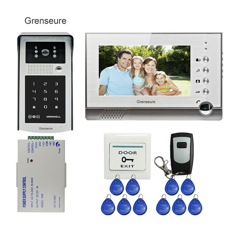 FREE SHIPPING 7 LCD Screen Record Video Intercom Door Phone System + Outdoor RFID Code Keypad Doorbell Camera + Remote + 8G SD