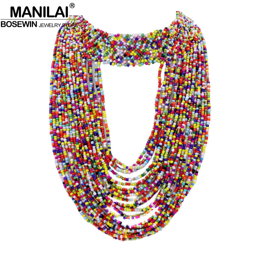 MANILAI Bohemia Handmade Beaded Statement Necklaces For Women Big Jewelry Collar Choker Bead Long Tassel Necklaces & Pendants manilai trendy arc hollow metal big torque choker necklaces women indian geometric collar statement necklace jewelry wholesale