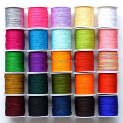Großhandel 150 mt/Spool Dünne 0,5mm Mix Farbe Nylon Schwarz Chinesischen Knotting Macrame Schnur Geflochtene DIY Perlen Shamballa string Gewinde