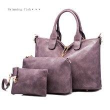 2017 Famous Brand Women Bag Top-Handle Bags Fashion Handle Women Messenger Handbag 3 Set PU Leather Composite Bag 1-88 ladies