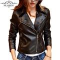 New Fashion Slim Black Biker Zipper Rivet Women Coats Short Motorcycle Jacket Outerwear Female Faux PU Leather Plus Size