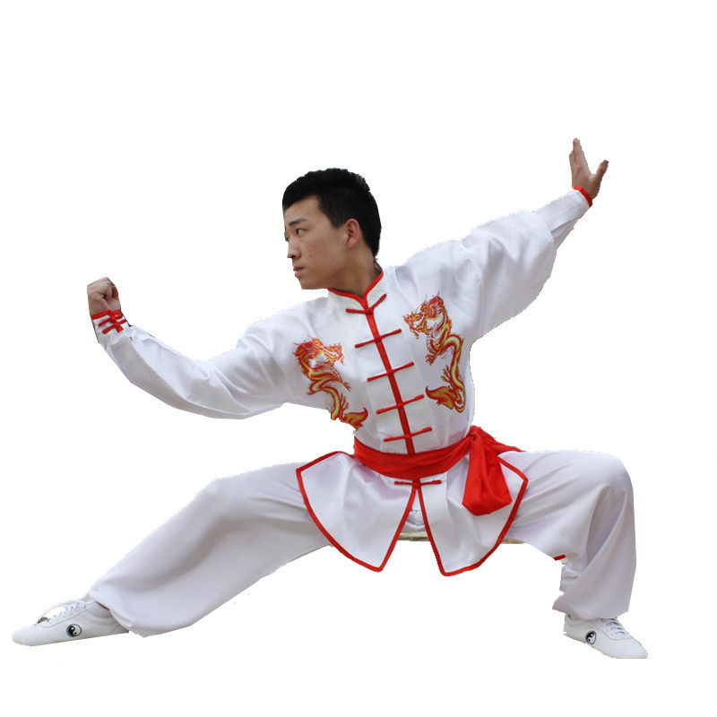 New Chinese Kung Fu Uniforms Long Sleeve Tai Chi Clothing South Korea Martial Arts Costume Wushu Performance Suit Dragon Pattern