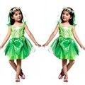 Fiesta de disfraces de fantasía tinker bell chica niños danza cosplay dress ropa encantadora de halloween vestidos de disfraces para niños verde