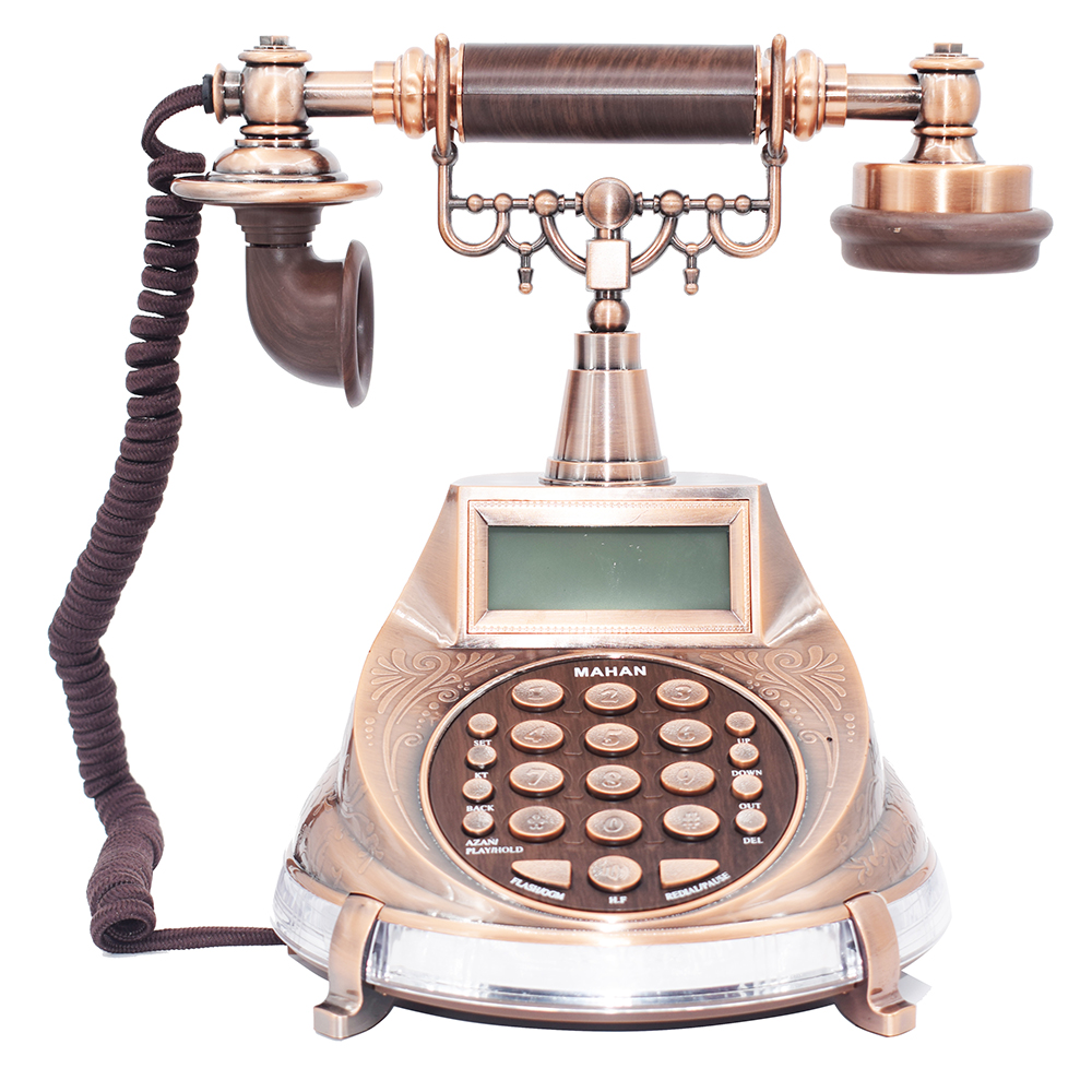 лучшая цена English Arabic Antique Landline Telephone AZAN Time Cord Phone With Call ID Redial Pause Handfree For Home Office Muslim