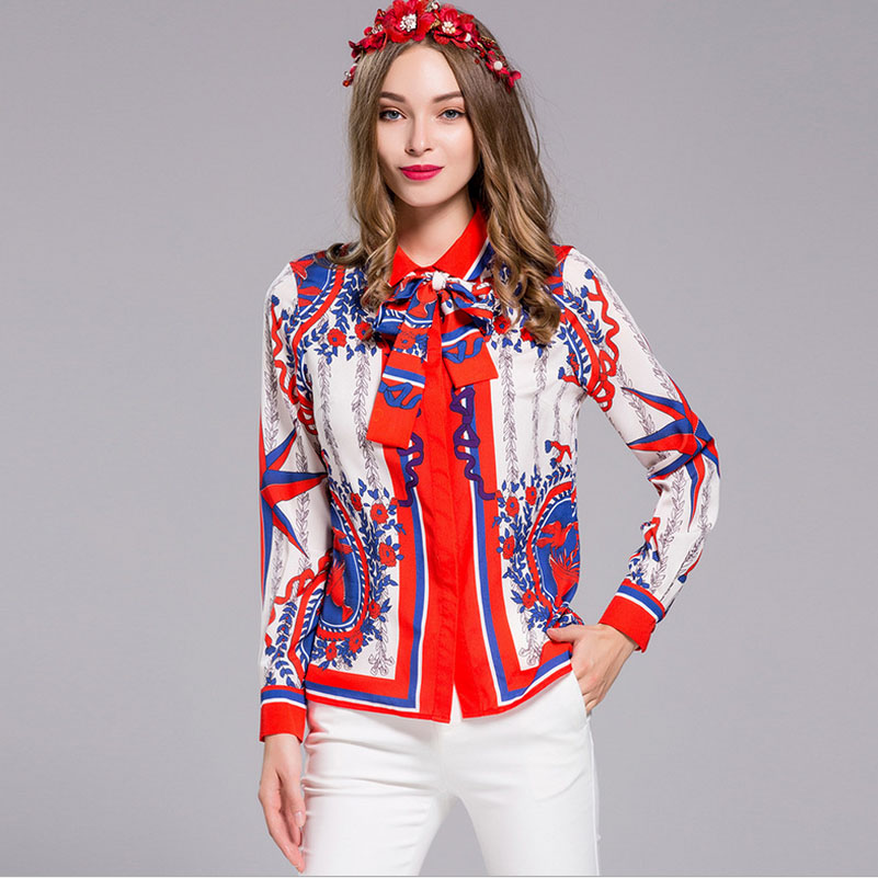 New Arrival 2017 Spring Summer Women's Turn Down Collar Long Sleeves Printed Elegant Plus Sizes Shirts with Scarf