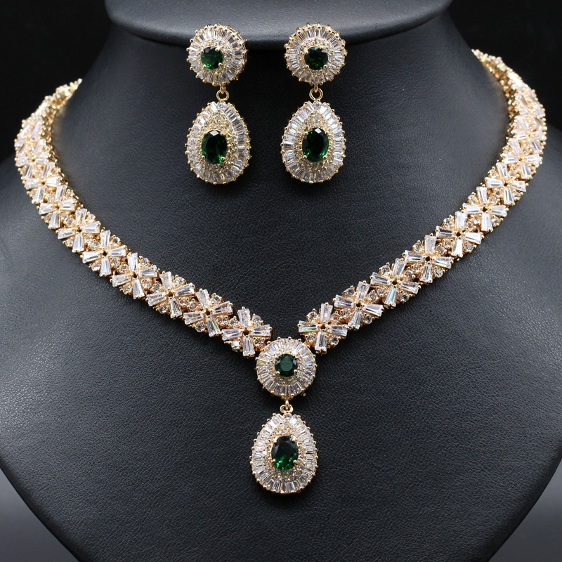Gzjy Luxury High Quality African Cz Cubic Zirconia Earring Necklace Jewelry Sets For Women Wedding Party Accessories 4 Colors In From