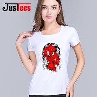 2018 New Fashion Designer Red Koi Fishes T shirt Women Printed Koi Carp Japanese fish Geisha T shirts Tops Hipster Tees