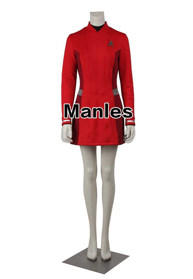 star trek beyond uhura cospaly costume star trek uniform red dress with free badge adult women halloween cosplay costume - Uhura Halloween Costume
