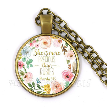 She Is More Precious Than Rubies Necklace Proverbs 3:15 Bible Verse Christian Quote 25mm Glass Dome Necklace Faith Gift For Sain image