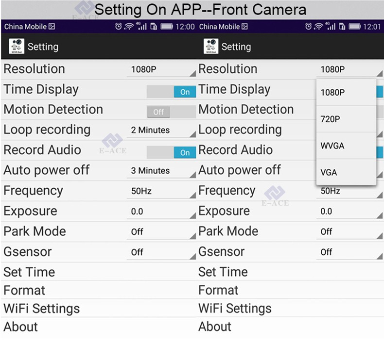 E-ACE Car Dvr WIFI DVRs Dual Camera Lens Registrator Dashcam Digital Video Recorder Camcorder Full HD 1080P 30FPS Night Version 17