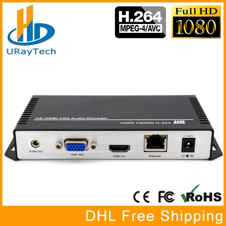 H 264 HDMI VGA HD Video Audio Decoder IP Streaming To HDMI Live RTMP Decoder IPTV