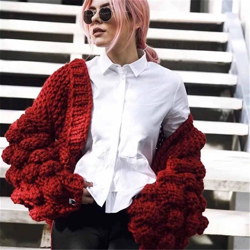 Новинка осень/зима женский модный теплый свитер ручной работы вязаный кардиган Фонарь рукава 2018 ленивый стиль короткая верхняя одежда женский