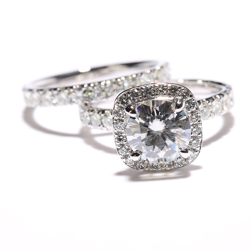 rings set for women engagement ring 315 ctw def moissanite diamond wedding band with real diamond - Real Diamond Wedding Rings