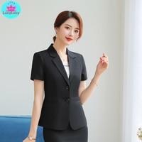 2019 summer women's Korean fashion temperament short sleeved black suit skirt professional suit 2 sets V Neck Single Breasted