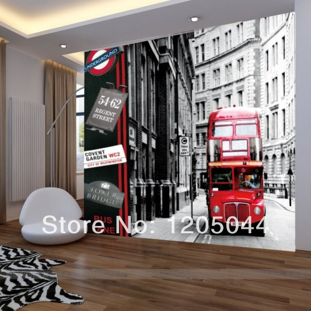 Free shipping london city buses large living room bedroom wall mural wallpaper england wallpaper modern