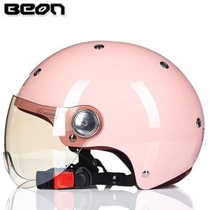 Image 4 - Мотоциклетный шлем BEON с полулицевой поверхностью, винтажный мотоциклетный шлем с открытым лицом, шлем для скутера, велосипедный шлем M L XL