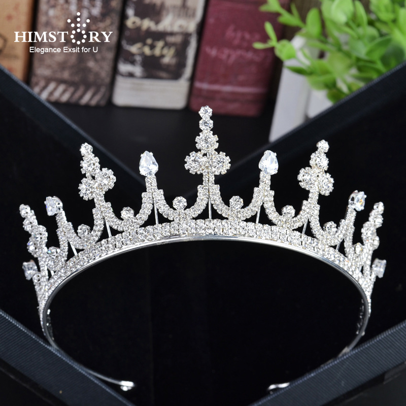 Himstory Princess Crown Prong Setting Crystal  Rhinestones Tiara Hairband Jewelry Silver Women Hair Accessories Wedding Crowns