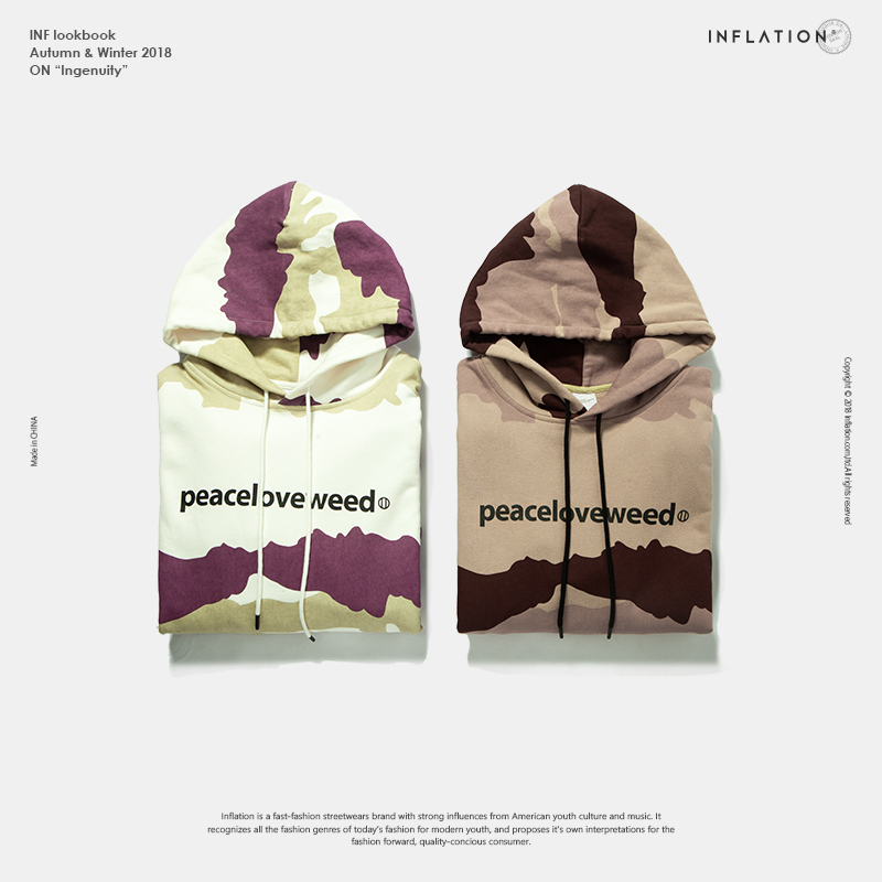 INFLATION Brand Men Hoodies Original Design Autumn Winter Hoodies Male Hoodies Warm Camouflage Hoodies Streetwear Hooded 8779W
