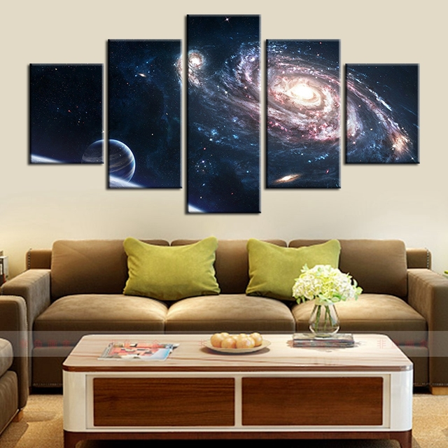 HD Printed Abstract Space Galaxy Starry Sky Landscape Painting Oil Canvas  For Home Decorations Wall Art