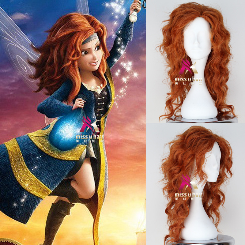 """55cm/21.5"""" Tinker Bell And The Pirate Fairy Zarina Cosplay Wig Women Long Orange Long Wavy Hair Wig Costumes"""