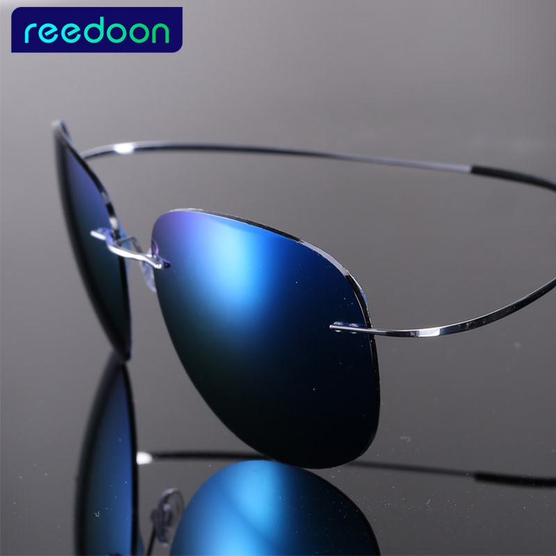 Luxury Ultra-light Flexible Pure Titanium Rimless Mirror Polarized Sunglasses Eyeglasses Eyewear Unisex Oculos De Sol Feminino