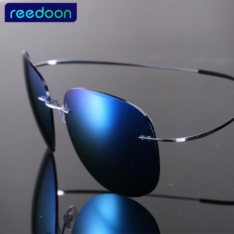 343d970db4935 Luxo Ultra-leve e Flexível de Titânio Puro Sem Aro Espelho Polarizado Óculos  de sol