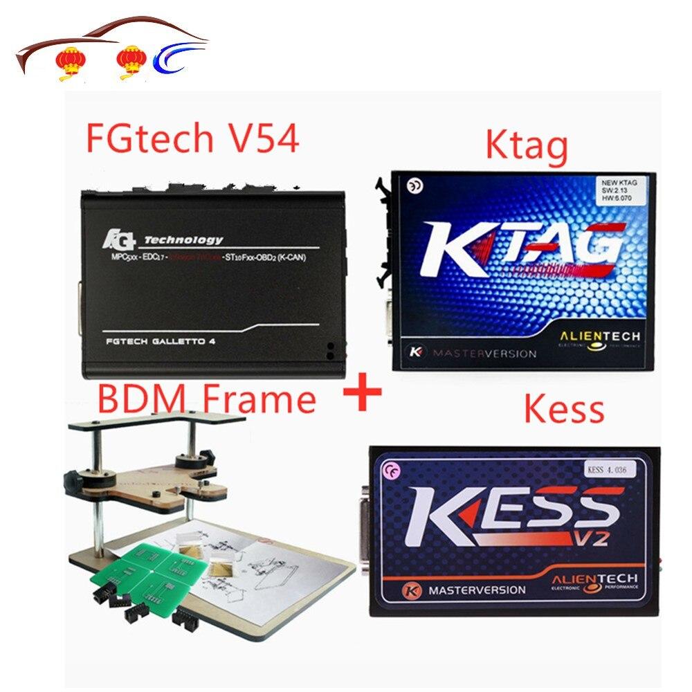 Kess V2 Fw4.036 V2.32 Kit de réglage de puce + k-tag 2.13 Fw6.070 Ktag programmeur Ecu + fgtech Galletto 4 Master V54 + bdm adaptateur de cadre