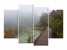 Framed 4 Panel Country landscape Wall Art Oil Painting On Canvas Printed Pictures Decor painting for living room