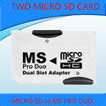 Dual MS Pro Duo Card Adapter Converter Memory Stick For sony PSP 1000 2000 3000 for two 2 micro sd card