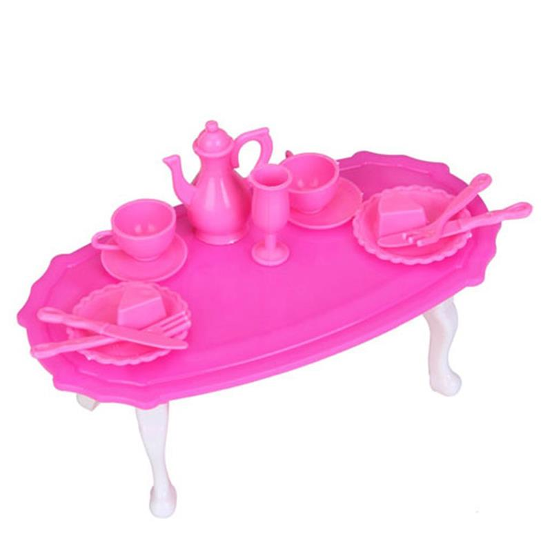 Pink Table Model Doll House Miniature Dining Room Furniture Dining Table Set For Elegant Small Doll Goblet Dinner Plate Fork