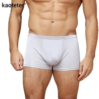100 Pure Silk Men S Boxers U Cutting Antibacterial Breathable Solid Comfortable Sexy Underpants Middle Waist