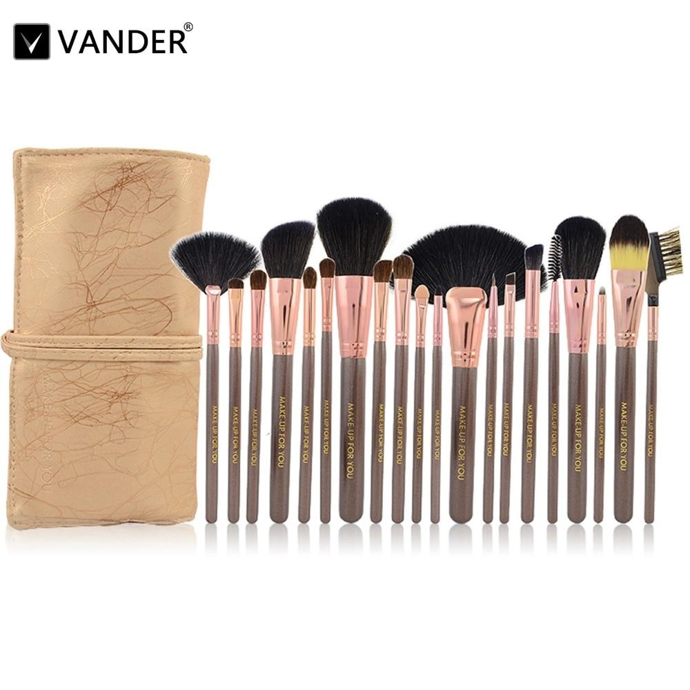 Vander 20pcs Champagne Professional Wood Handle Makeup Brushes Foundation Blush Powder Facial Eye Synthetic Hair Cosmetic Kits