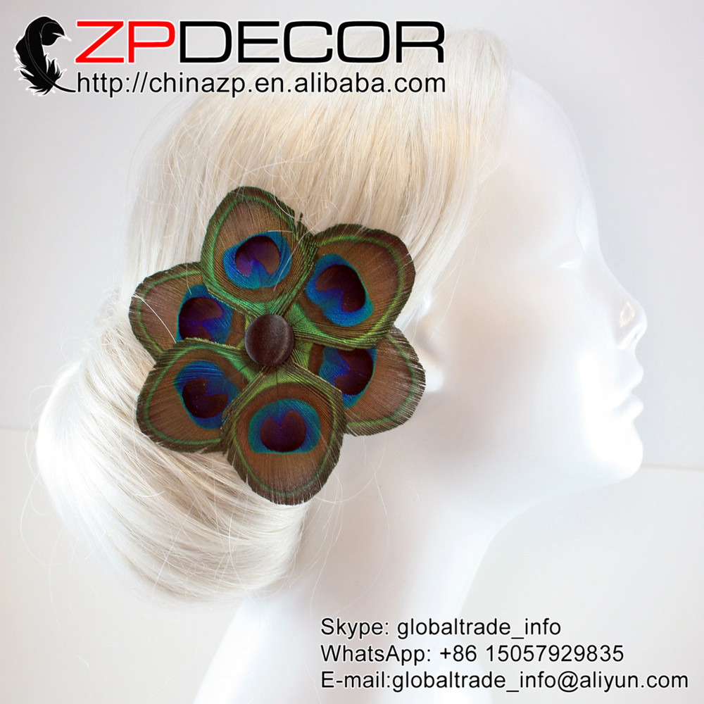 Retail and Wholesale from ZPDECOR Factory Natural Peacock Feather Clip DIY Craft Decoration