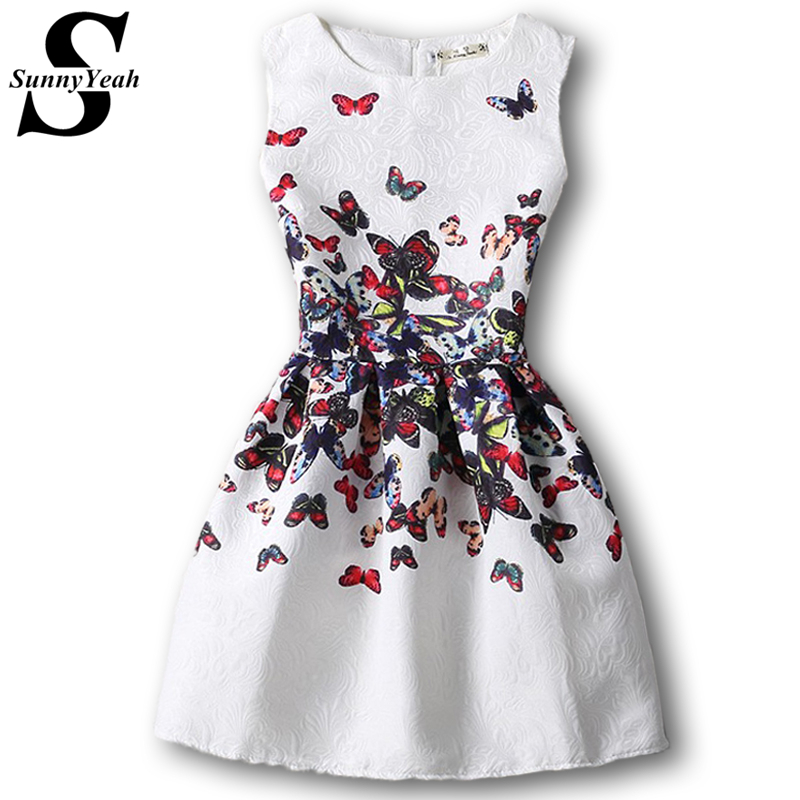 Nuevos 2017 forman a mujeres butterfly print summer dress casual vestidos femini