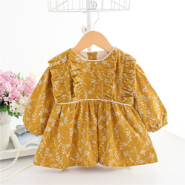 שרוול פנס הדפסת בציר סיטונאי 5 יח'\חבילה יום הולדת שמלת תינוק פעוט ילדים להתלבש 0-2 T ורוד הטבלה צהוב