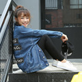 2016 calças de Brim das Mulheres da Moda Outono Solto Jaqueta Jeans Jean Mulheres Casuais Letras Jaquetas para as mulheres de Algodão Outwear 1644