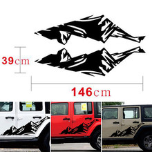Snow Car sticker Mountain Pair Black Graphics Car Skirt Decal Decor Decoration 2pcs(China)